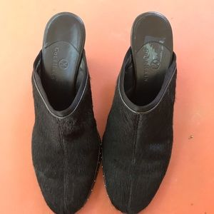 Cole Hann Black faux fur slip on heels 8M